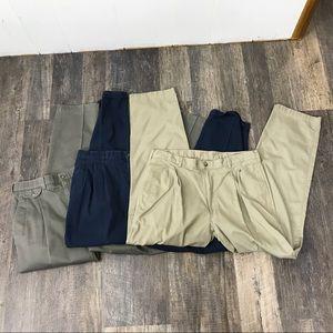 3X Haggar mens gray blue tan casual pants 36x32